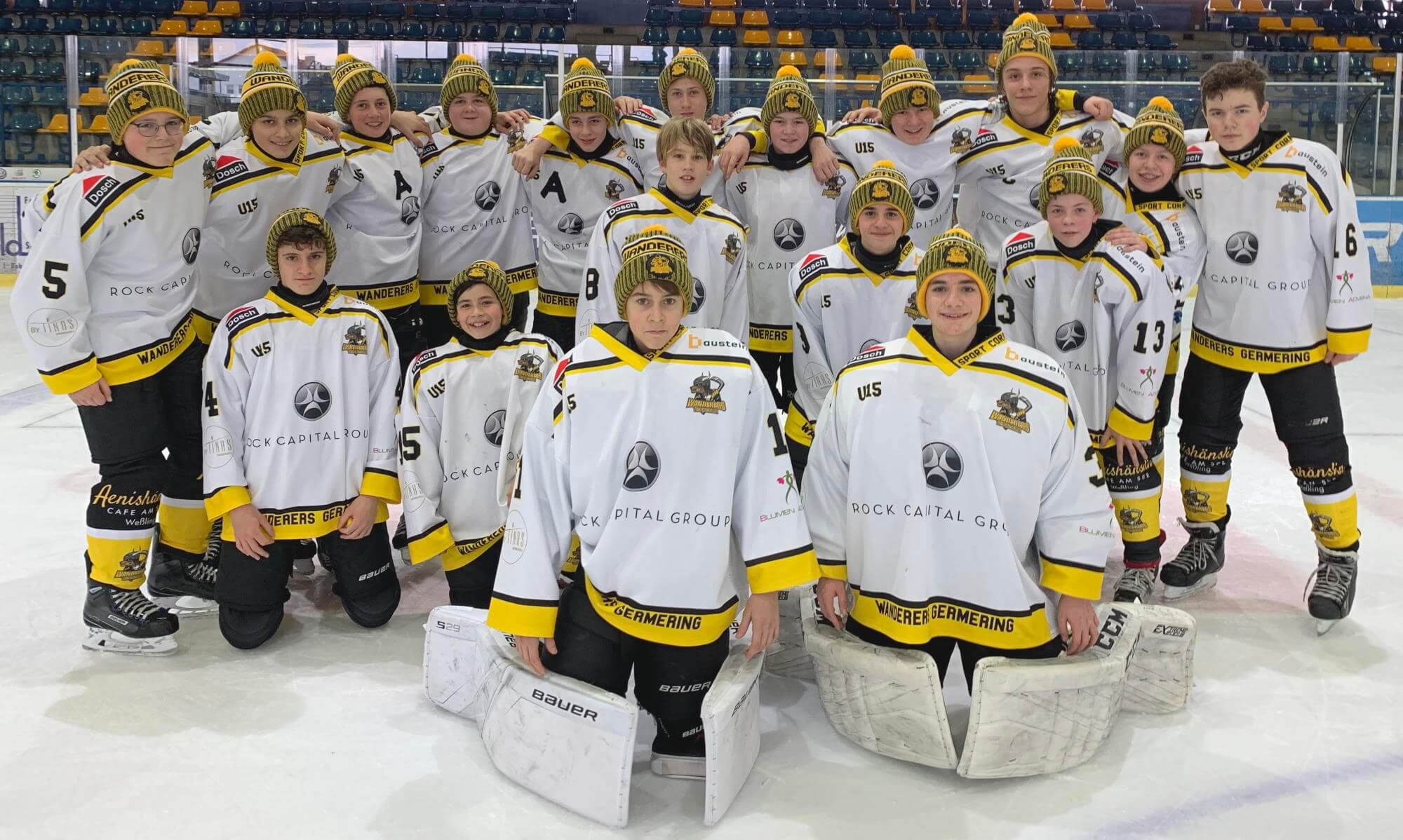 Mützen für Eishockeymannschaften <br>U15 der Wanderers Germering